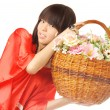 Asian flower girl - Stock Photo