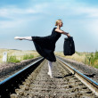 Ballet dancer with bag — Stockfoto