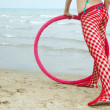 Fitness outdoors with hoop — Stock Photo