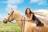 Escaping on a horseback — Stock Photo