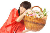 Asian flower girl — Stock Photo