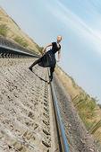 Posing of ballet dancer — Stock Photo