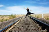 Walking through the railway — Stock Photo