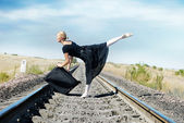 Travelling of ballet dancer — Stock Photo