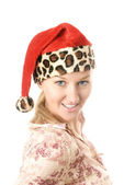 Santa blonde — Stock Photo