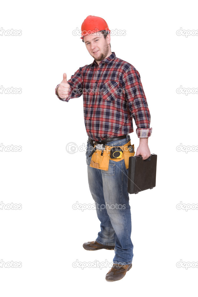 Workman with tools over white background  Stock Photo #1637526