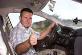 Casual man in car — Stock Photo