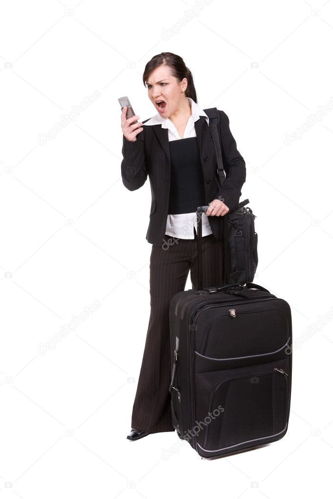 Young businesswoman with suitcase. over white background — Stock Photo #1659642