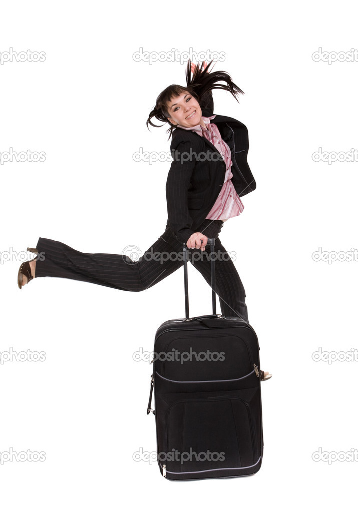 Attractive businesswoman traveling with suitcase — Stock Photo #1661749