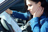 Woman with map — Stock Photo