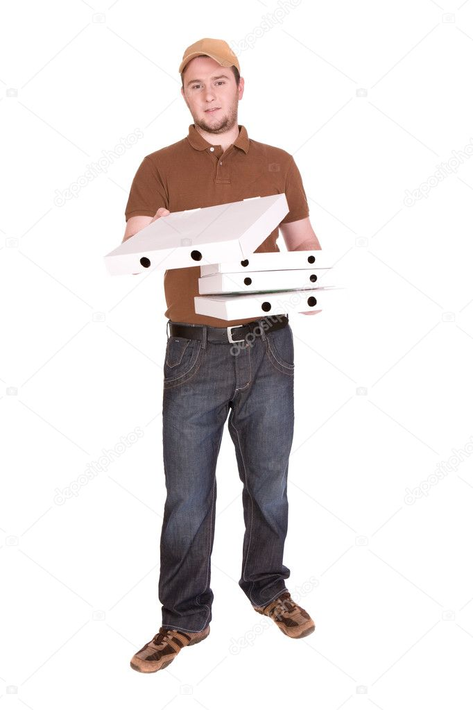 Happy man with pizza delivery. over white background — Stock Photo #1691272