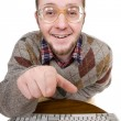 Nerd with keyboard - Foto de Stock