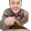 Nerd with keyboard - Stock fotografie