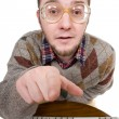 Nerd with keyboard — Stock Photo