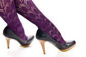 Ženské nohy v punčocháče — Stock fotografie