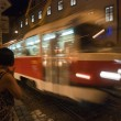 Tram on the night in the city — Stock Photo
