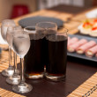 Three glasses with cold vodka - Foto Stock
