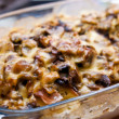 Casserole with potato cheese mushrooms — Stock Photo