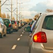 Traffic jam in rushhour — Stock Photo