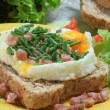 Stock Photo: Fried eggs with ham on toast