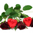 Red roses with red hearts — Stock Photo