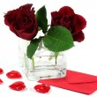 Stock Photo: Letter with red roses and red hearts