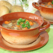 Wild mushroom soup - Stock Photo