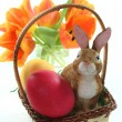 Stock Photo: Easter basket with eggs and Easter bunny