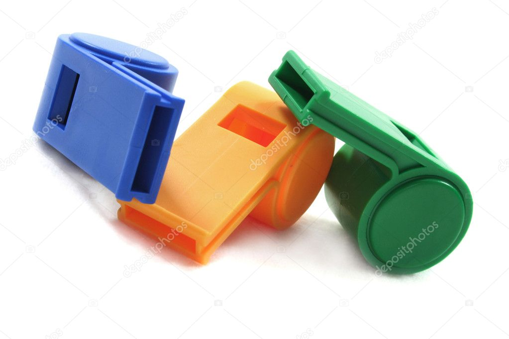Three whistles on a white background — Stock Photo #2366068