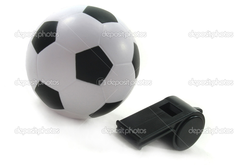Football with black whistle on a white background — Stock Photo #2366109
