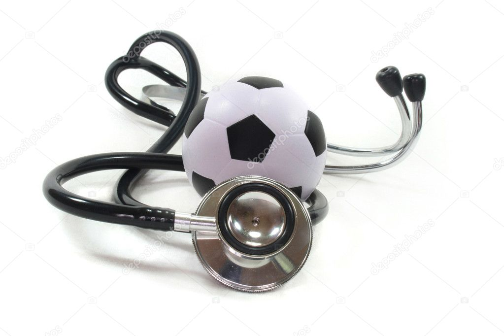 Stethoscope with football on a white background — Stock Photo #2366121