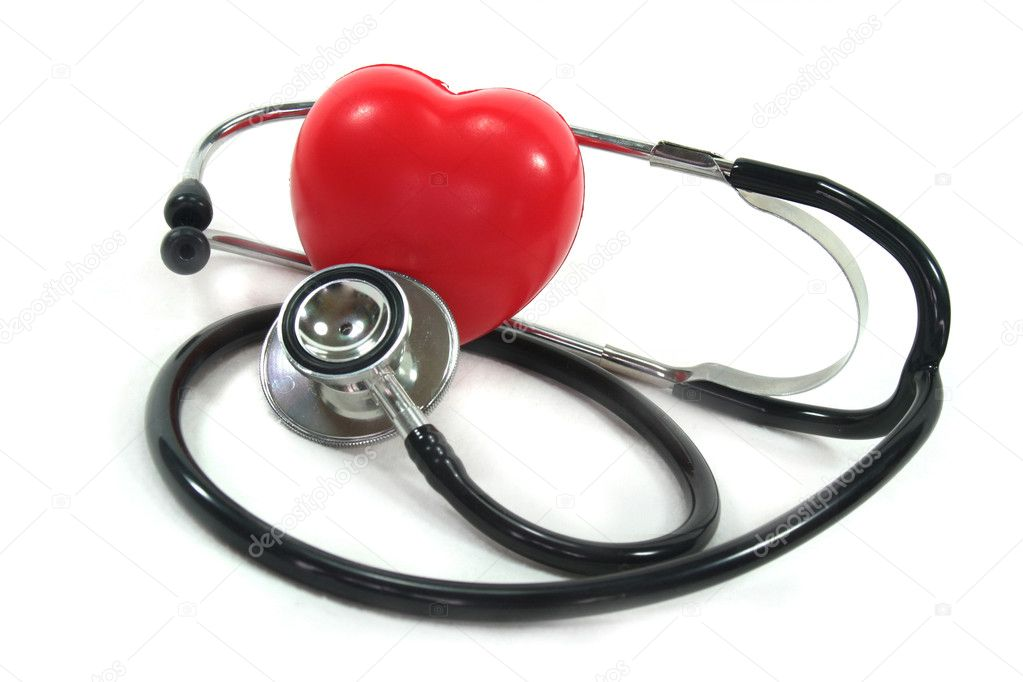 Stethoscope with red heart on a white background  Stock Photo #2366139