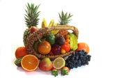 Fruit basket with various fruits — Stock Photo