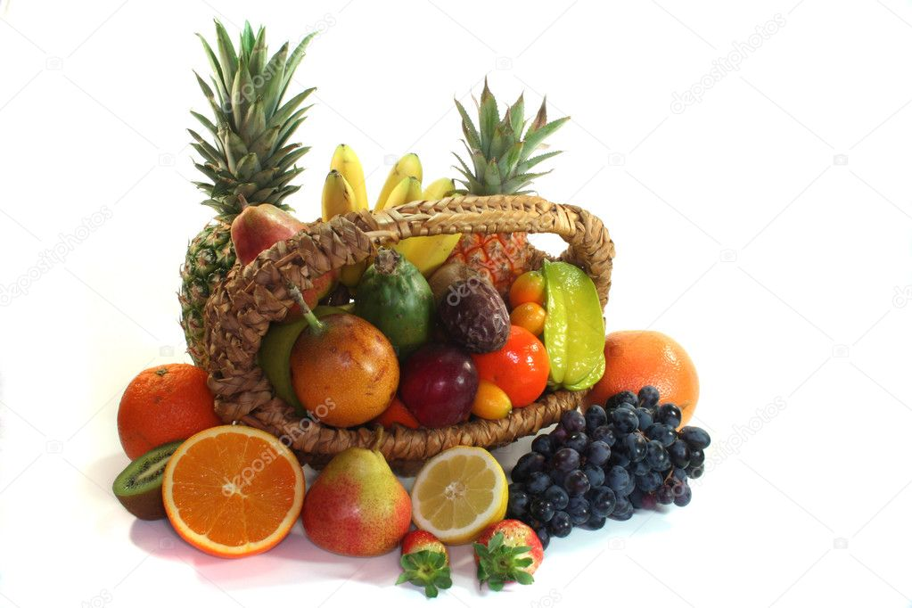 Fruit basket with various indigenous and exotic fruits on white background — Stock Photo #2551156