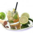 Caipirinha with fresh lime — Stock Photo