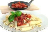Tortiglione with tomato sauce — Stock Photo