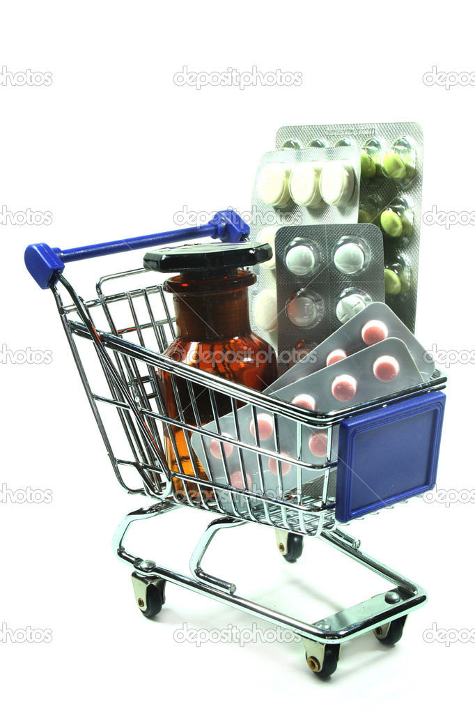 Different drugs in a shopping cart — Stock Photo #2281876