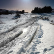 Stock Photo: Winter snow road with sunshine star.