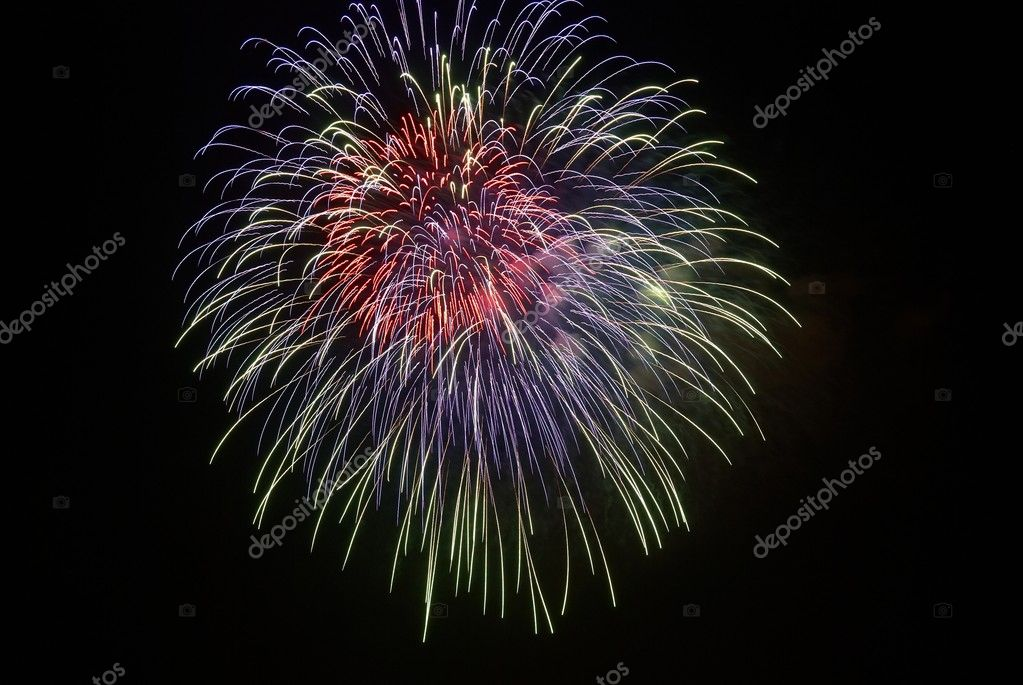 Beautiful fireworks on the black sky background — Stock Photo #1628105