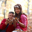 Young couple enjoying the falling leaves — Stock Photo #1638452