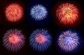 Six beautiful fireworks — Stock Photo