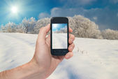 Winter mobile landscape — Stock Photo