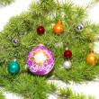 Сhristmas baubles, fir tree and decorati — Stock Photo #1688735