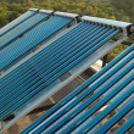 Vacuum solar water heating system — Stock Photo