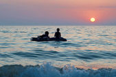 On the raft — Stock Photo