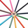 Circle of colored pencils — Stock Photo