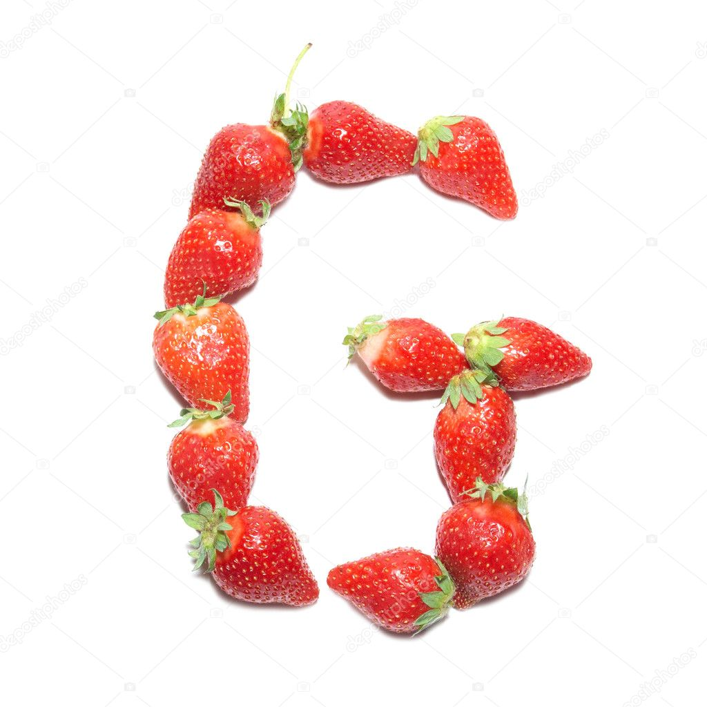 Strawberry health alphabet- letter G with white isolation  Stock Photo #2074475
