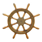 Old boat steering wheel — Stockfoto