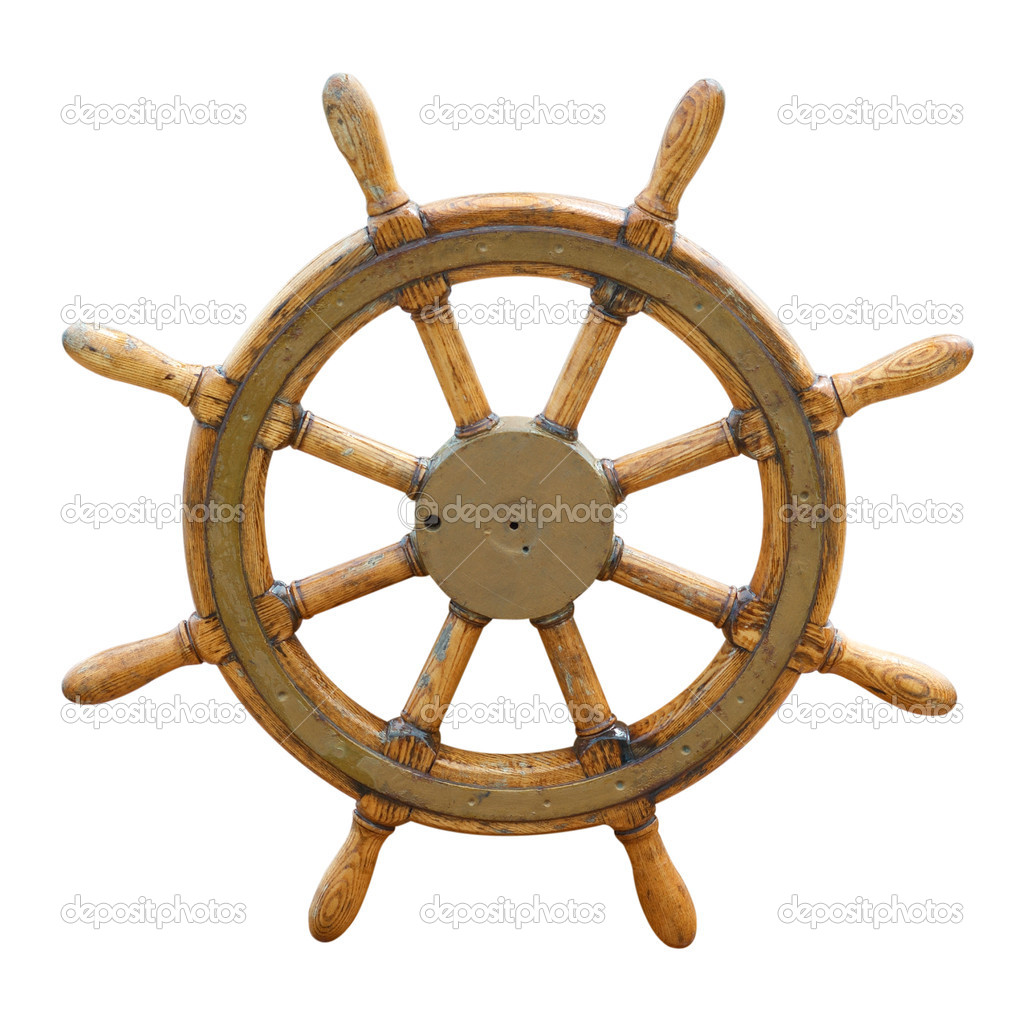 Old wooden steering wheel on the boat   Stock Photo #2114758