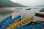 Wooden boats on the lake — Stok fotoğraf